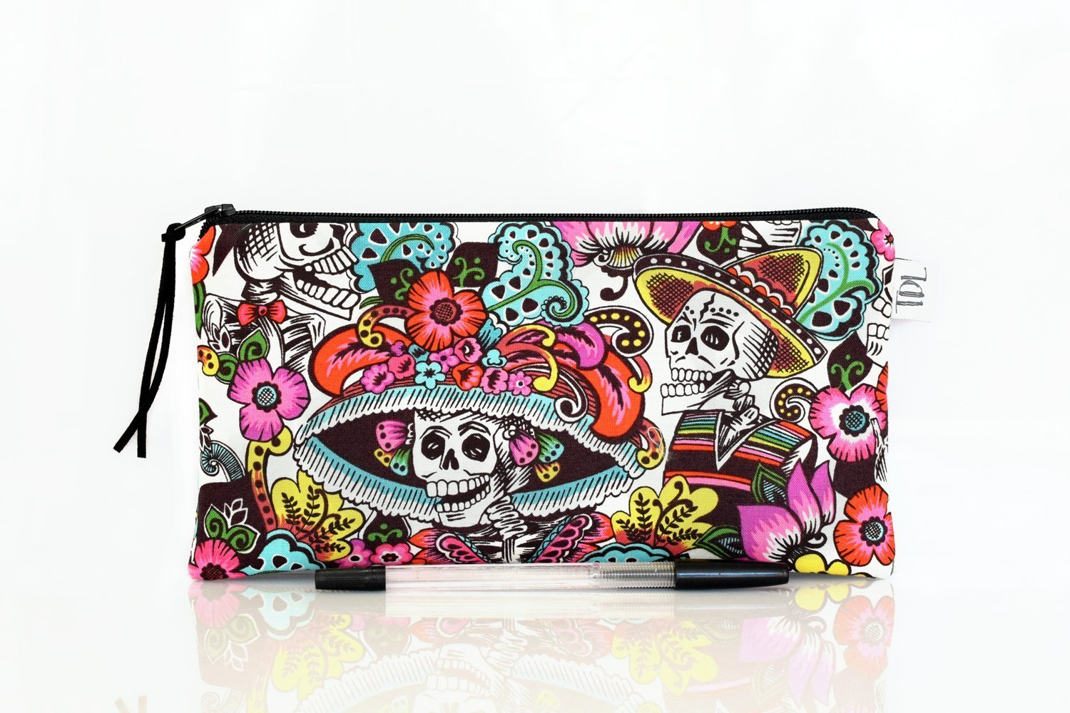 Dia de los muertos, Pencil case, Mexican skeleton, Zipper pouch, Day of the dead, Make up bag, Teacher gift, Back to school, Alexander Henry, Accessory bag, Small cosmetic bag