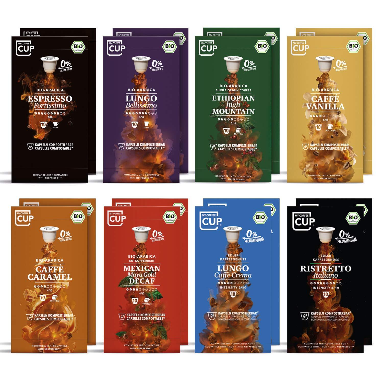 Gourmet-Kaffee-Box - 16 x 10 BIO Kaffeekapseln von My-CoffeeCup | Kompatibel mit Nespresso®-Maschinen | 100% kompostierbare Kapseln ohne Alu | 160 Kapseln 8 Sorten
