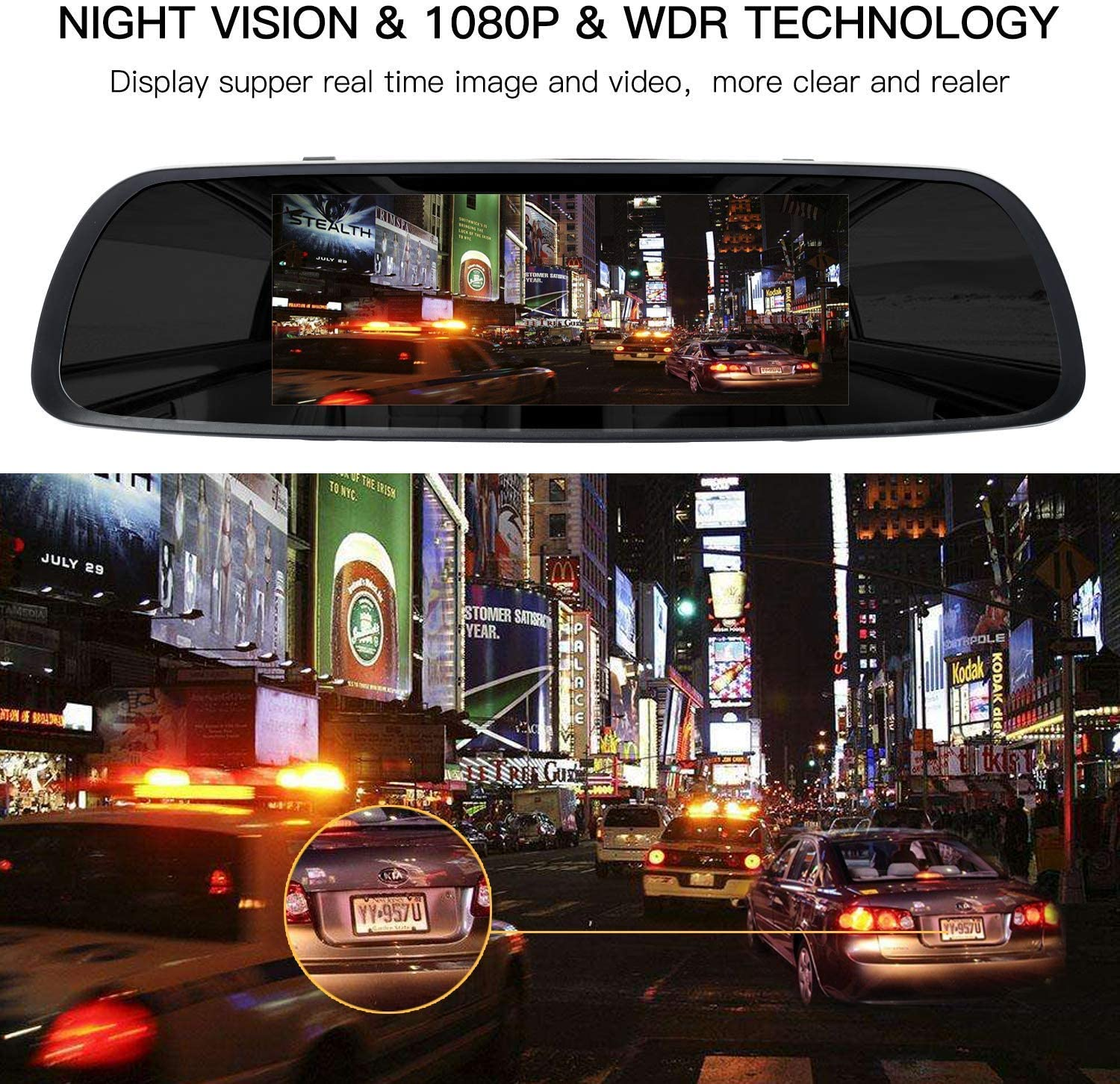 1080P 170/°Wide Len Motion Detection Parking Mode 7 Inch Touch Screen Rearview Mirror Car Camera 7 Dash Car DVR Cam Front and Rear Dual Lens Night Vision Video Recorder Reversing Backup Camera