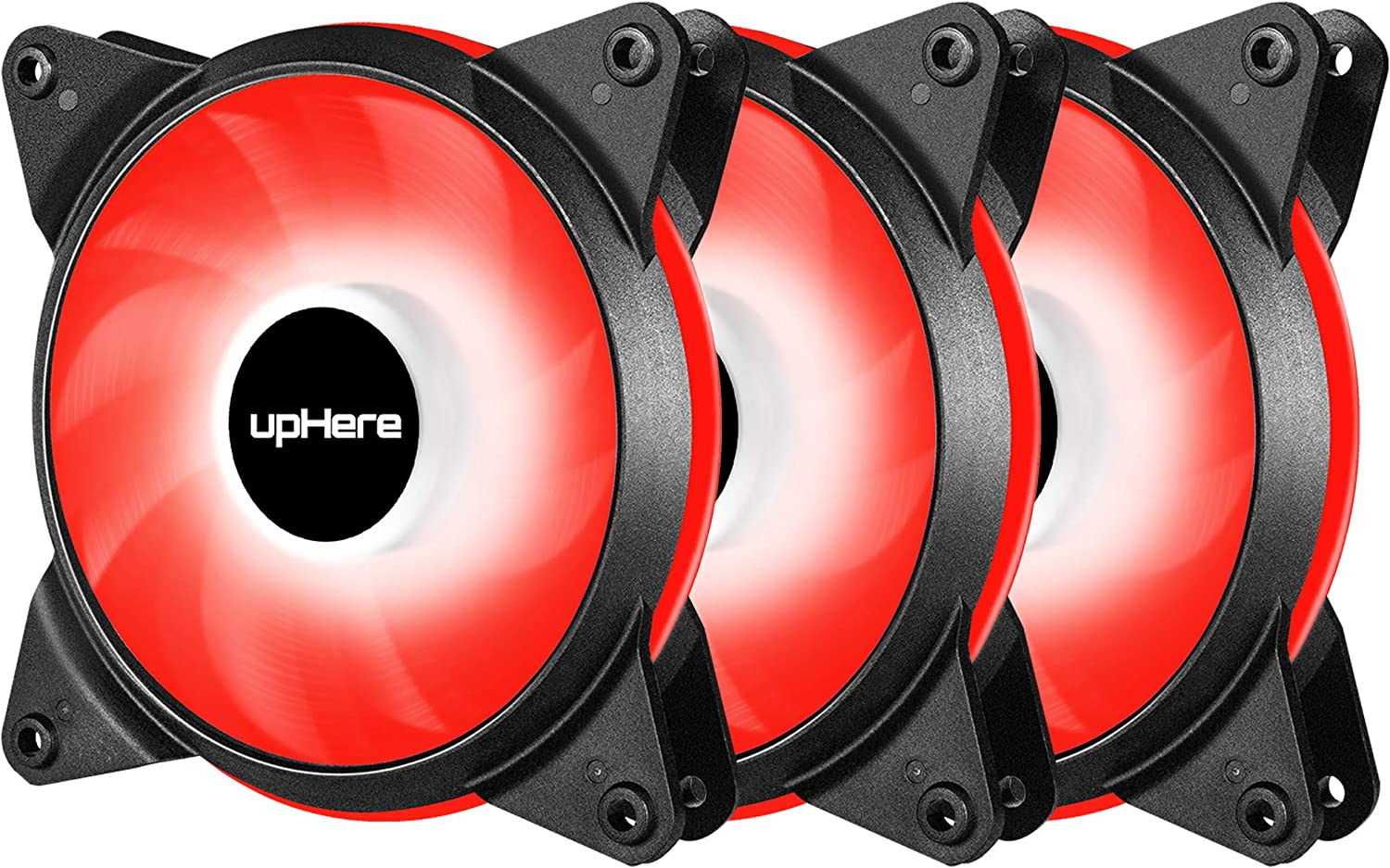 upHere 3-Pack 120mm PWM High Airflow Quiet Edition Red LED Case Fan for PC Cases, CPU Coolers, and Radiators T4RD4-3