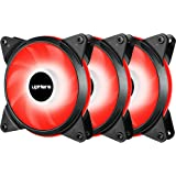 upHere T12 Series 120mm PWM Red LED Silent Fan for Computer Cases, CPU Coolers, and Radiators,4 Pin 3 Pack/T4RD4-3