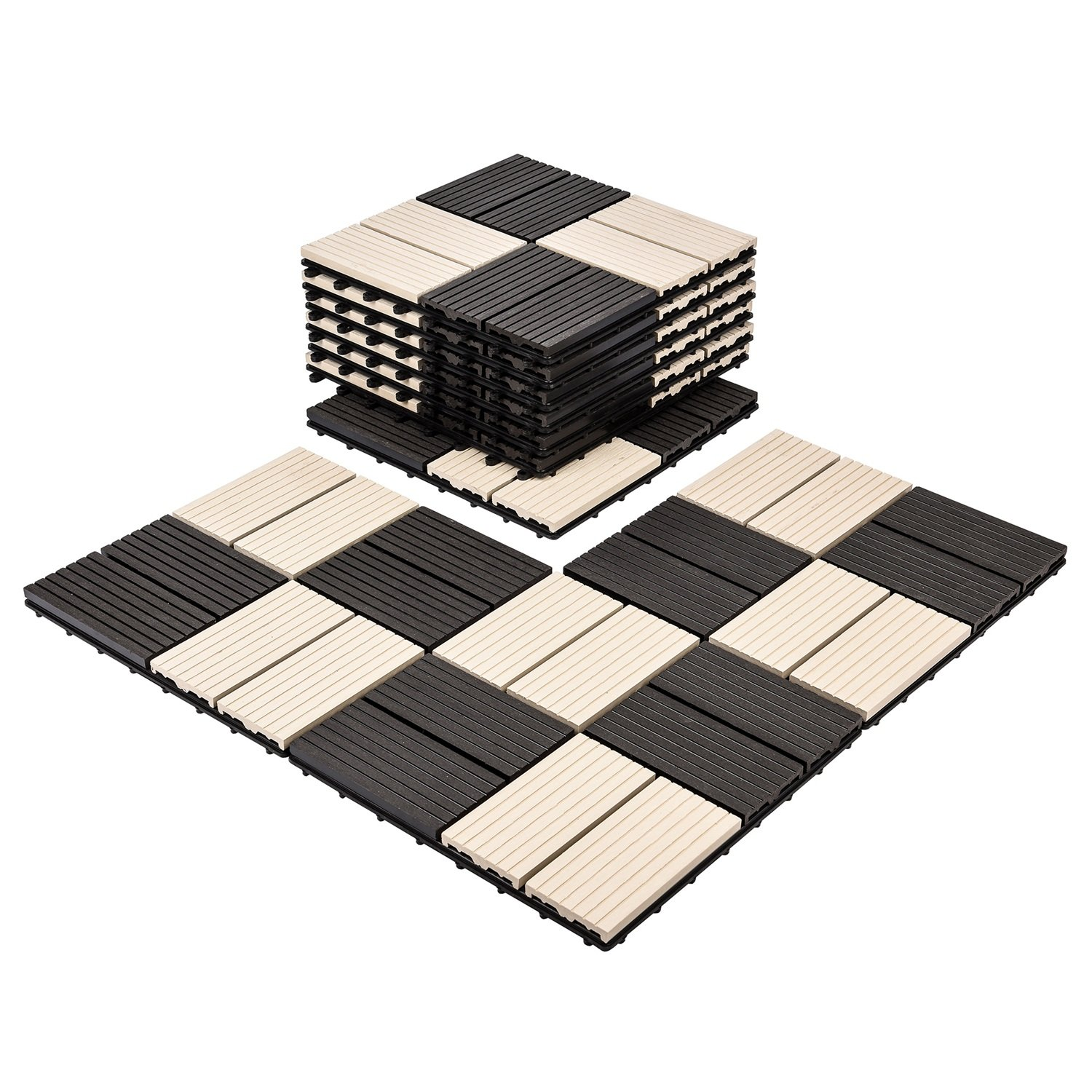 Composites Decking Flooring Solid Wood - Plastics Interlocking Flooring Deck Tile Black and White Windmill Pattern for Indoor and Outdoor (Set of 10)