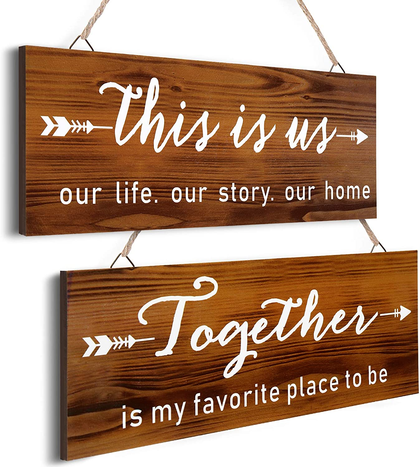 2 Pieces This is us Rustic Wood Home Sign Together Family Wood Sign Rustic Home Wall Decor Farmhouse Entryway Signs Living Room Brown Vintage Hanging Signs 13.7 x 5.1 Inch