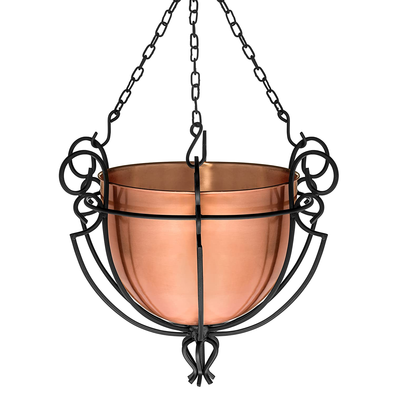 H Potter Hanging Copper Patio Garden Flower Planter Basket