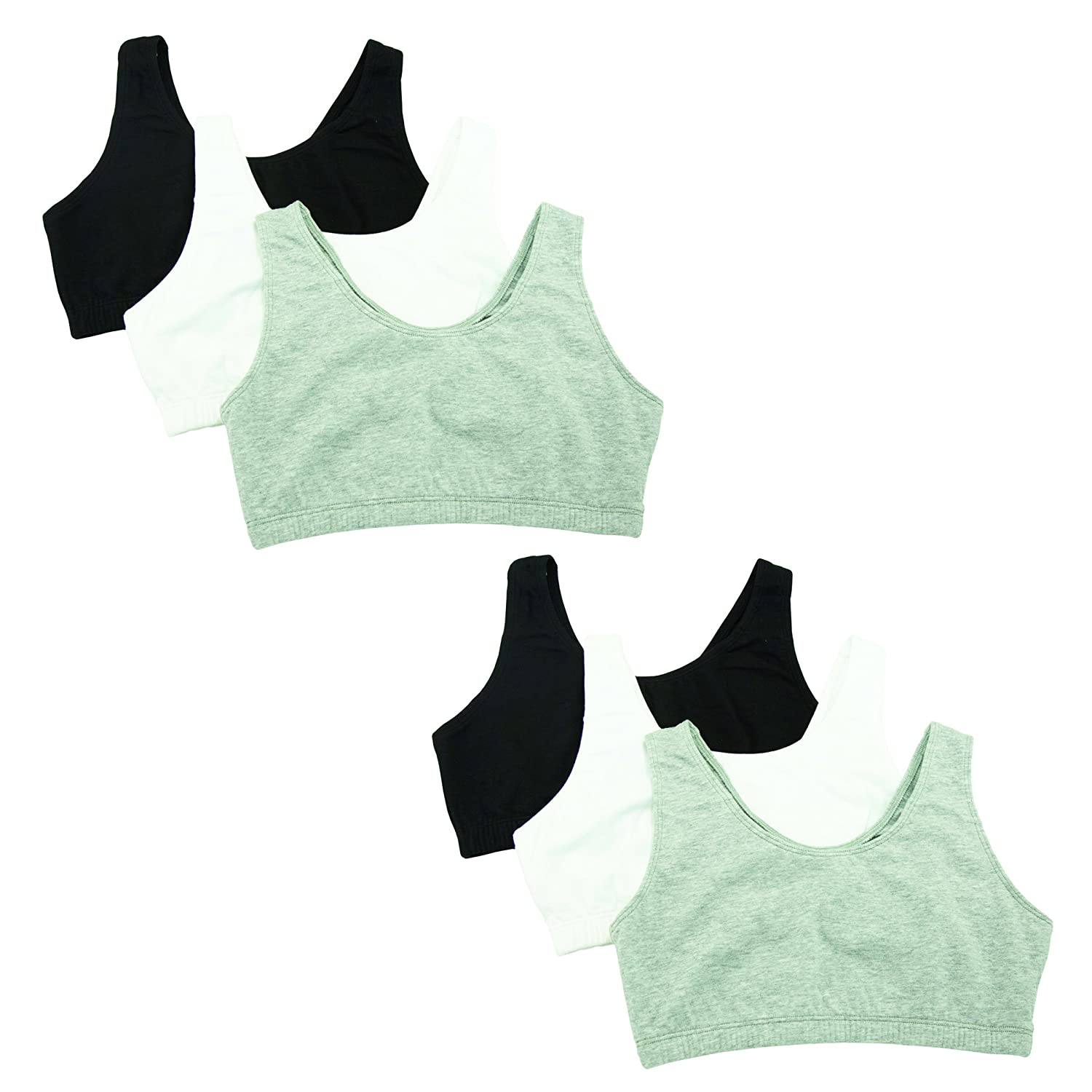 Fruit of the Loom Womens Built-Up Sports Bra Pack of 6