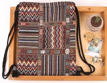 Da.WA sacca zaino di tela a tracolla zaini zaino da viaggio con tasca portaoggetti Style 3