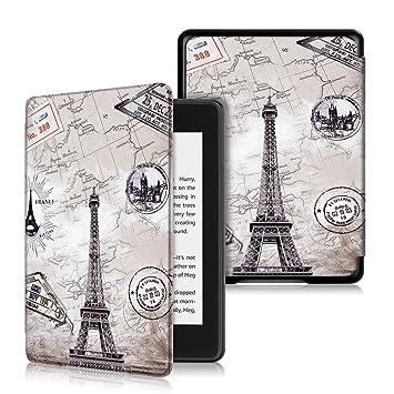XIHAMA Funda Compatible con Kindle Paperwhite (10 Generación 2018), PU Piel Carcasa con Función de Bloqueo/Desbloqueo Automático Compatible con Amazon ...
