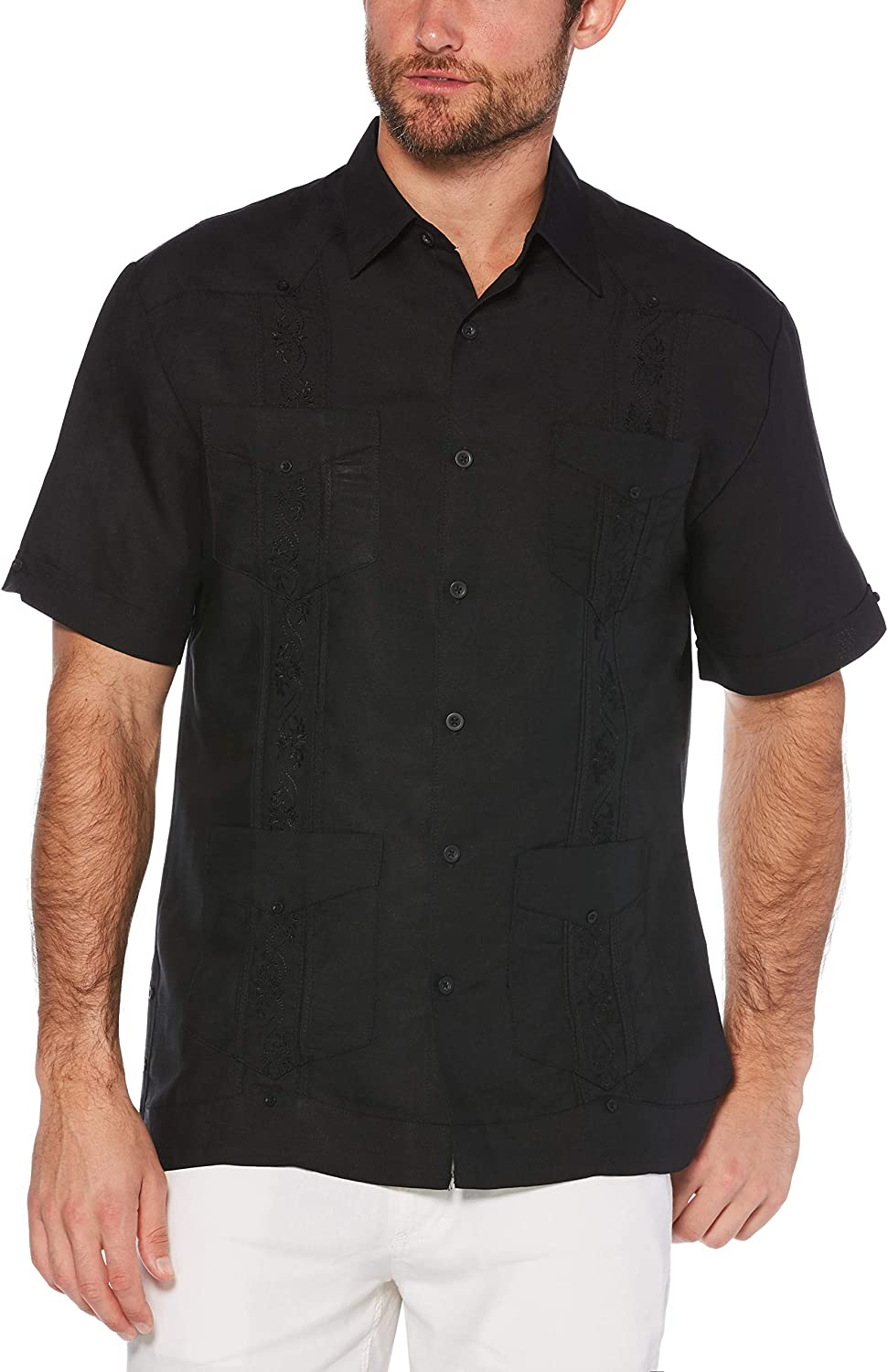 Cubavera Men's Short Sleeve Embroidered Guayabera Shirt