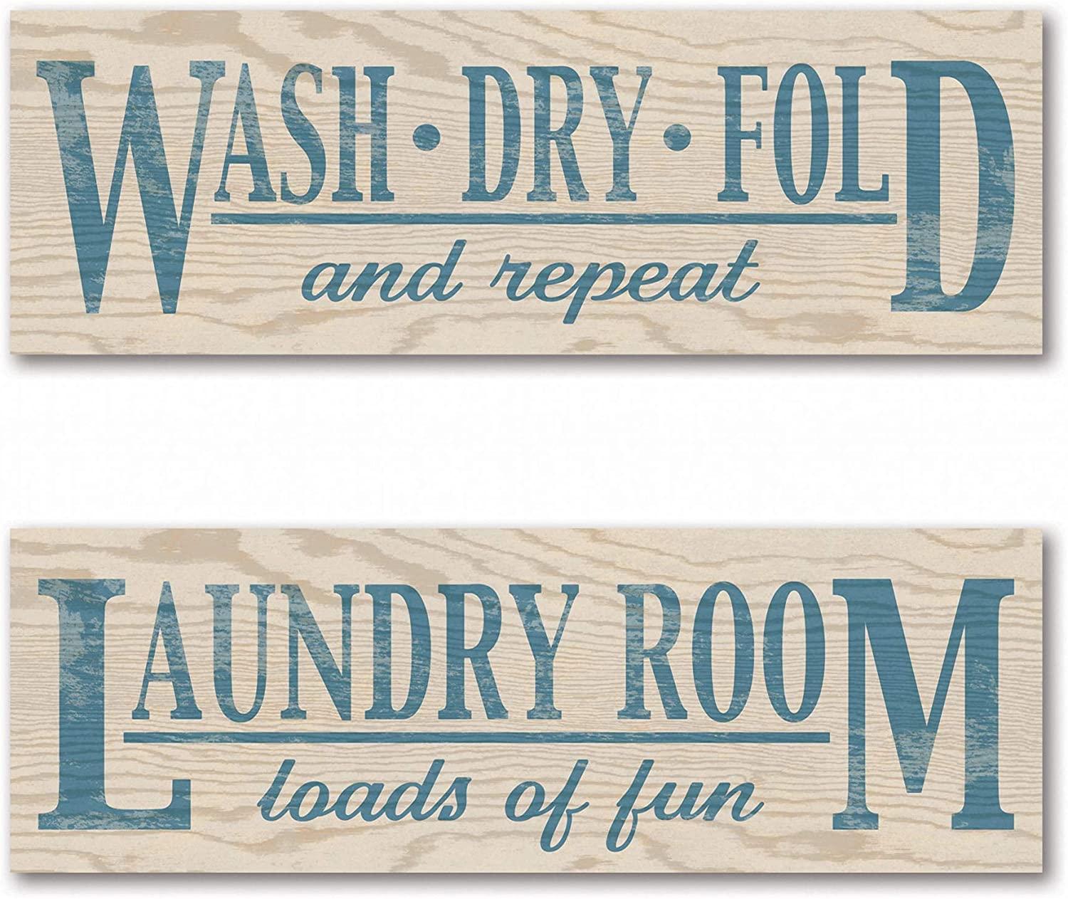 Amazon Com Gango Home Décor Laundry Room Loads Of Fun Wash Dry Fold And Repeat Two 18x6 Mounted Prints Posters Prints