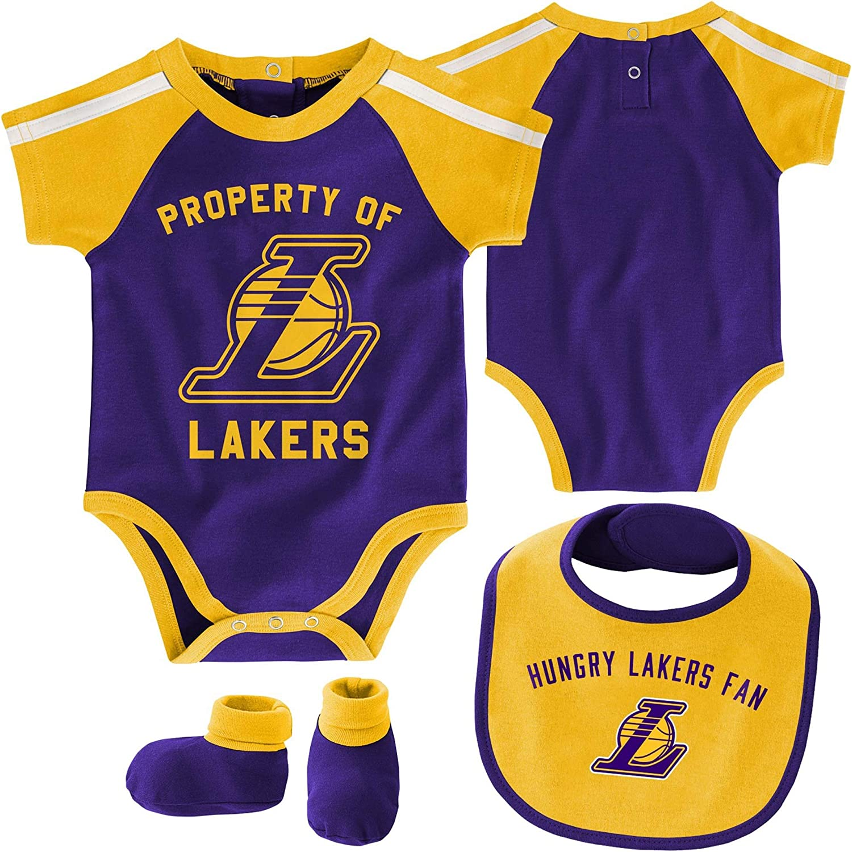 Outerstuff NBA Newborn Infants Rebound 3 Piece Creeper Bib and Bootie Bodysuit Set