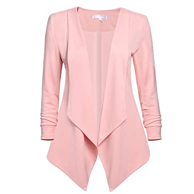 Dickin Women's Long Sleeve Open Front Asymmetrical Hem Solid Loose Work Blazer Jacket