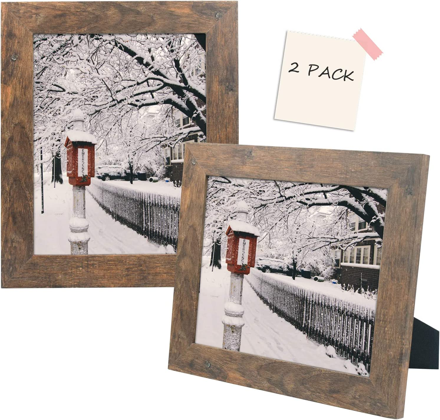 Golden State Art, Set of 2 Picture Frame - Wide Molding - Wood Grain Style - Easel for Tabletop Display, Back Hangers for Wall Display - Great for Baby Pictures, Weddings, Portraits (8x10, Brown)