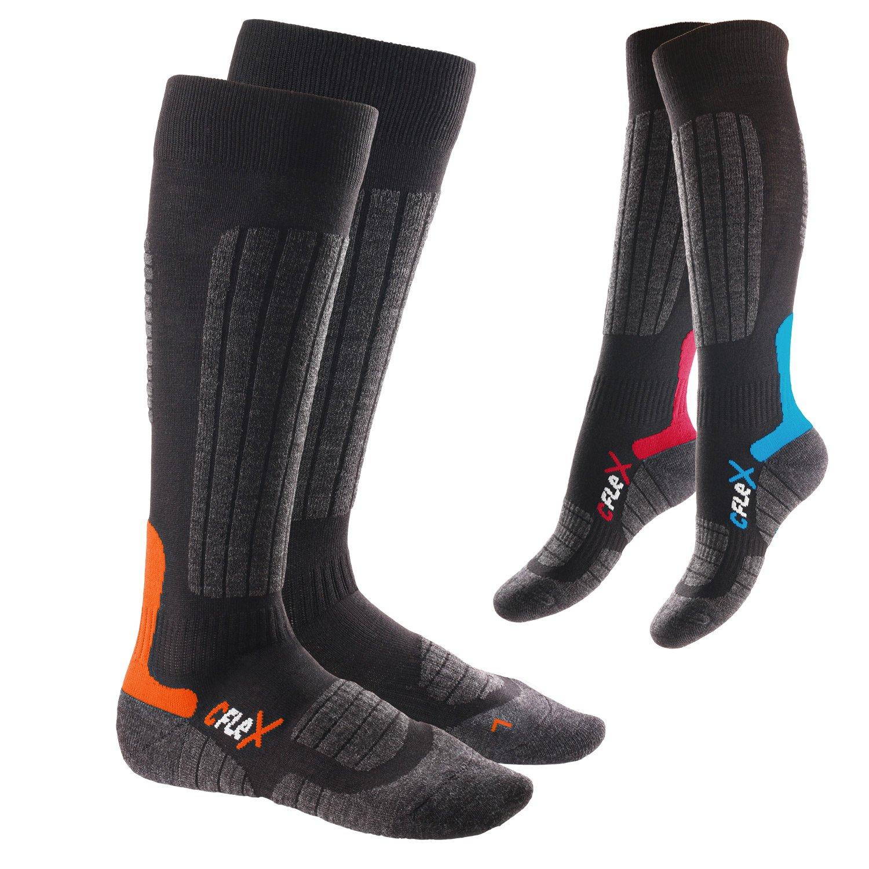 3er Pack Original CFLEX HIGH PERFORMANCE Ski- und Snowboard Socken - Für Damen und Herren. - Im 3-Farb-Pack - Größen 35-46 wählbar - Qualität von celodoro
