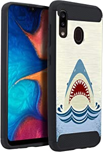CasesOnDeck Case Compatible with Samsung Galaxy A20 / Galaxy A30 (2019), Slim Precise Fit TPU Case, Scratch Protection and Unique Design (Shark Attack)