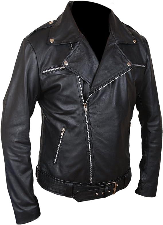 TALLA M. F&H Men's The Walking Dead Negan Genuine Leather Jacket