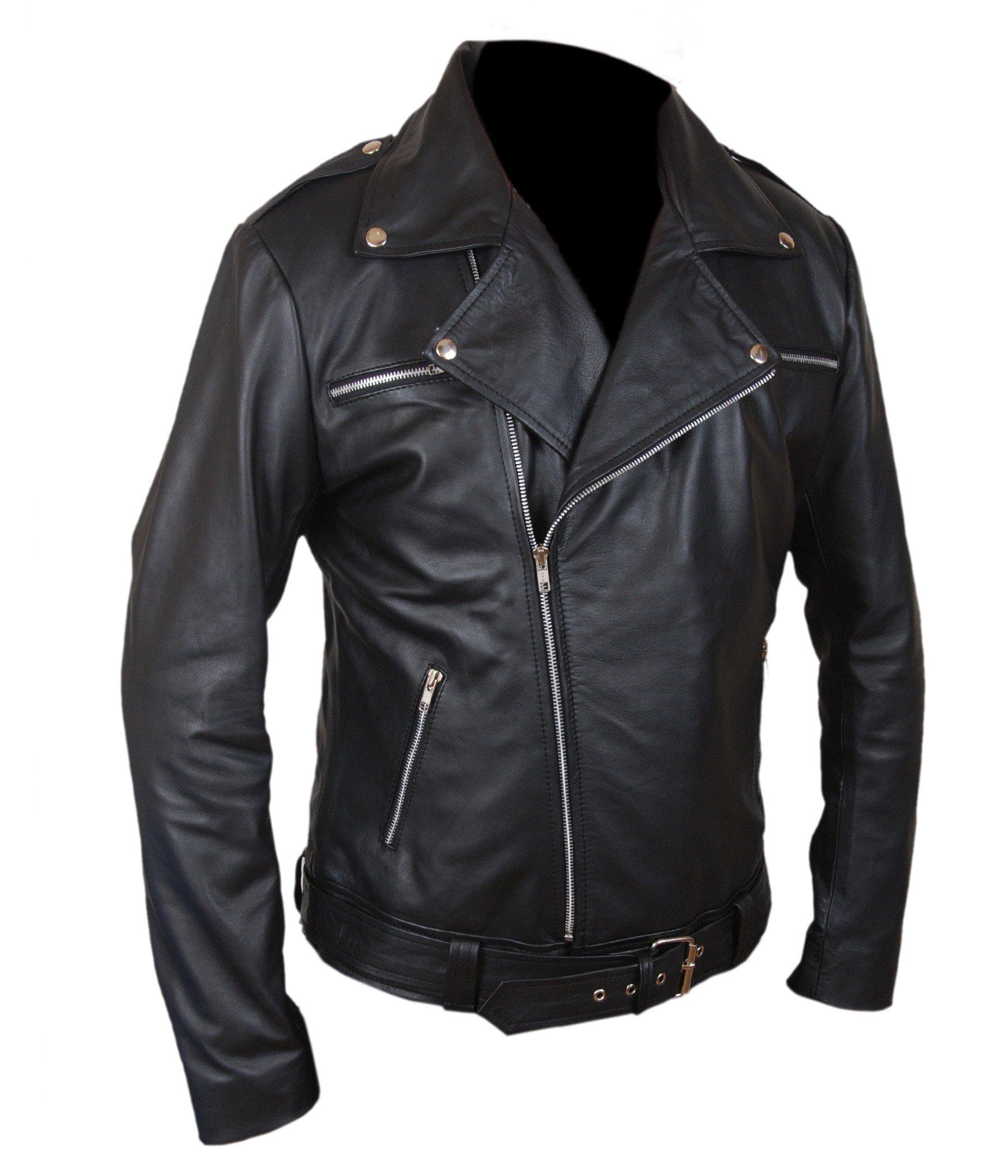 F&H Boy's The Walking Dead Negan Genuine Leather Jacket L Black by Flesh & Hide