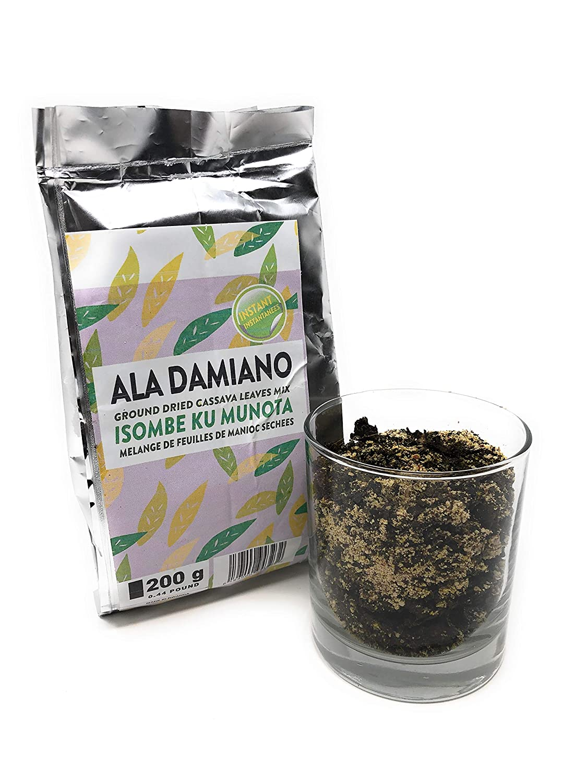 Ground Dried Cassava Leaves Mix, Isombe Ku Munota, 200 grams, Ala Damiano