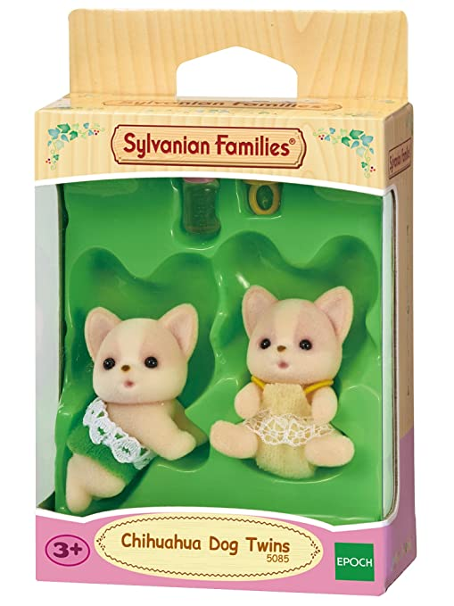 Sylvanian Families-5085 Animales Gemelos perros Chihuahua Color assorted colours, verde, rosa,