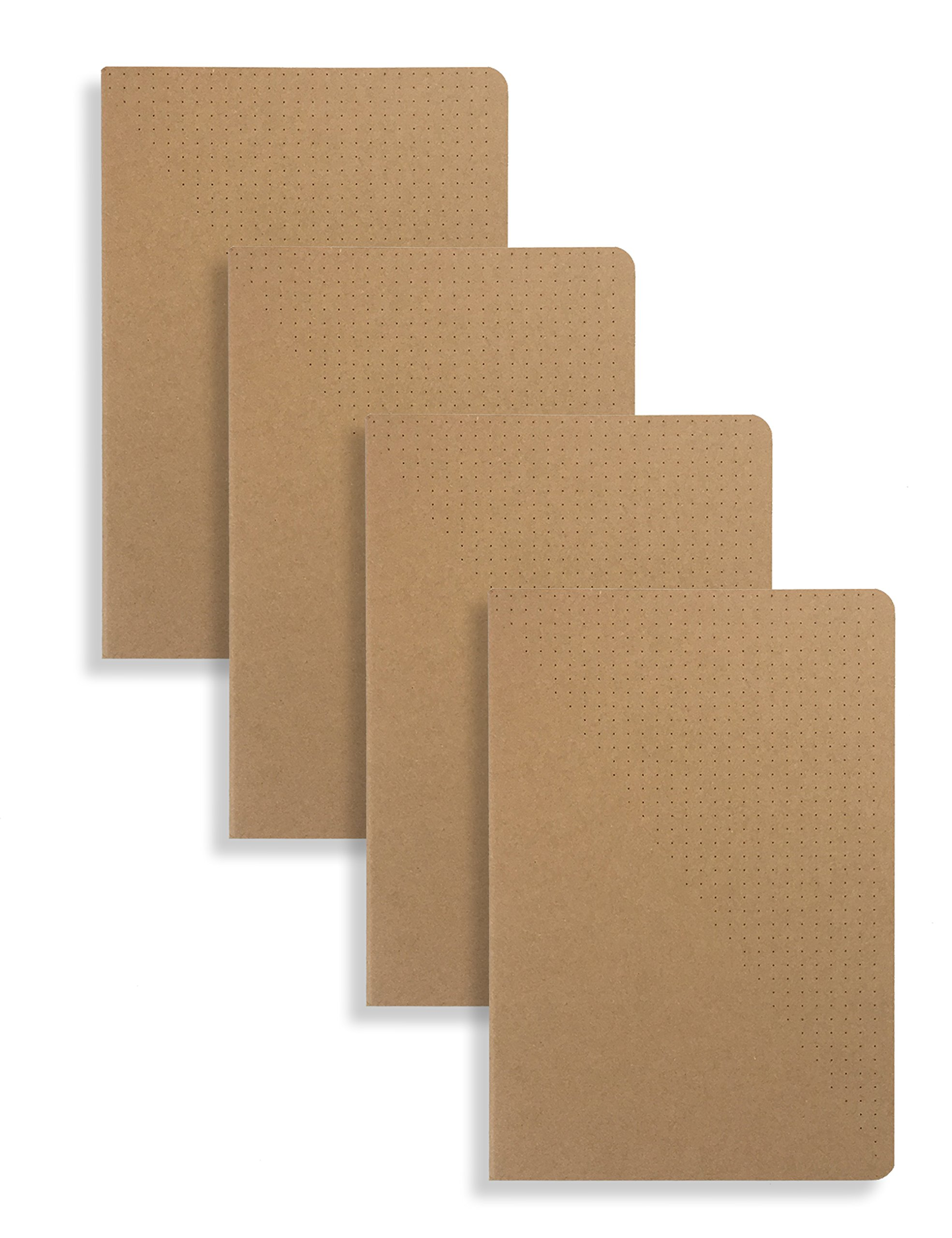 Miliko A5 Kraft Paper Series A5 Softcover Notebooks/Journals/Diary Set-4 Items Per Pack(Dot)