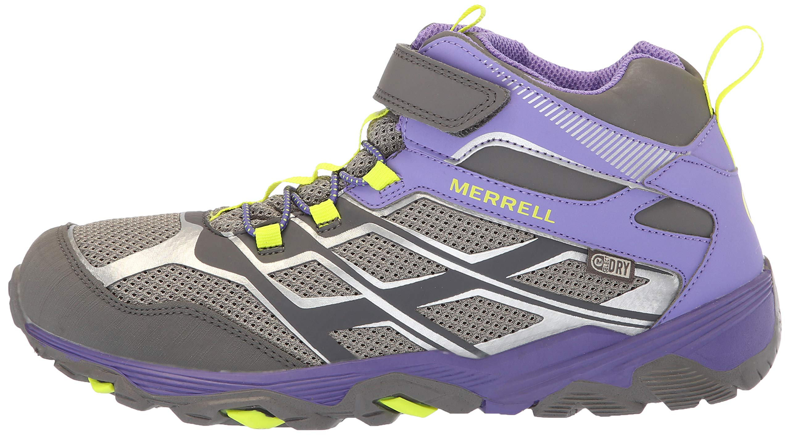Merrell Girls' Moab FST Mid A/C WTRPF Hiking Shoe, Grey/Purple, 3.5 Medium US Big Kid by Merrell (Image #5)