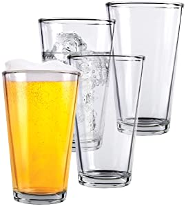 Clear Glass Beer Cups – 4 Pack – All Purpose Drinking Tumblers, 16 oz – Elegant Design for Home and Kitchen – Lead and BPA Free, Great for Restaurants, Bars, Parties – by Kitchen Lux