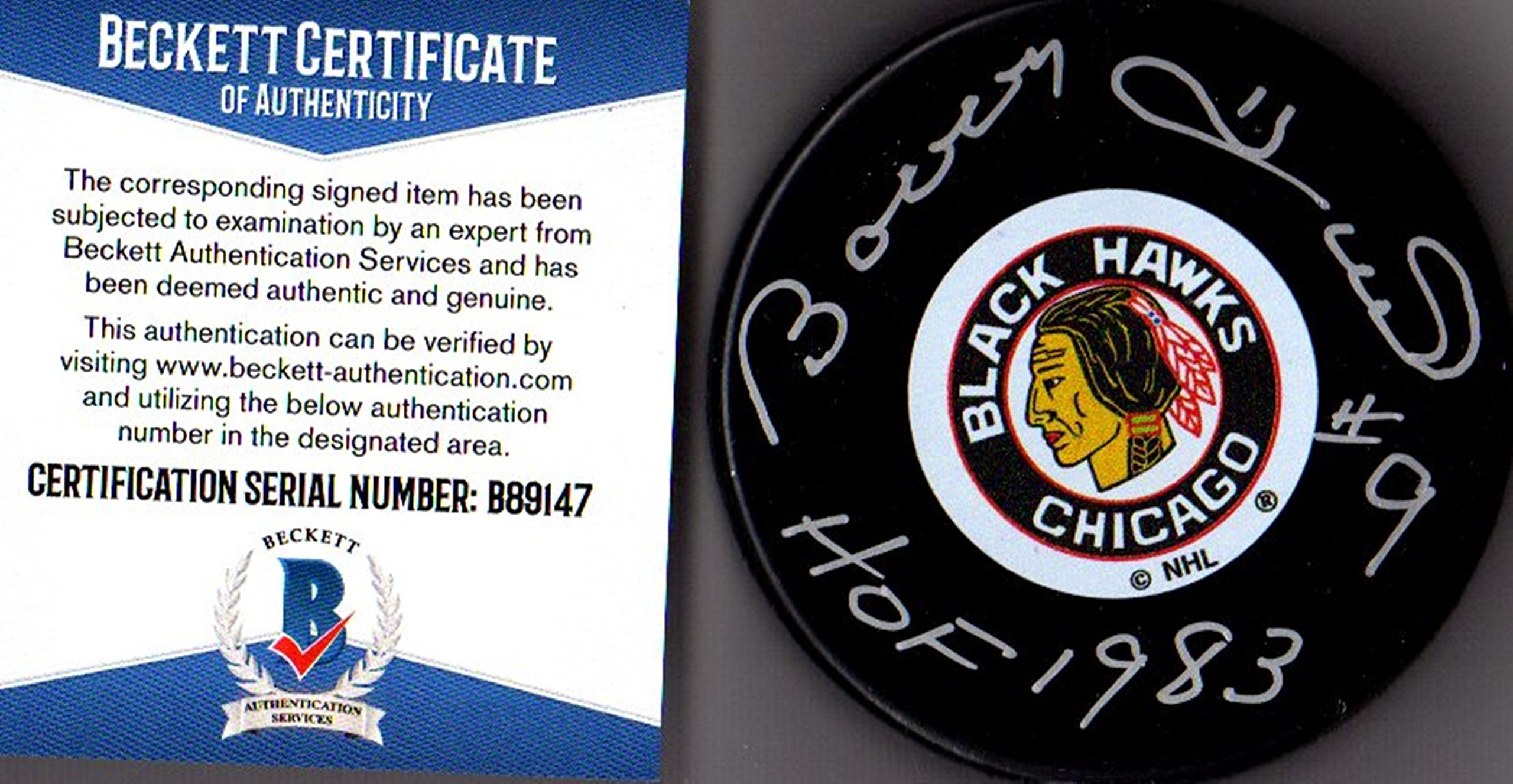 "Beckett BAS Bobby Hull #9 ""HOF 1983"" Autographed Signed Chicago Blackhawks Original Six Puck"