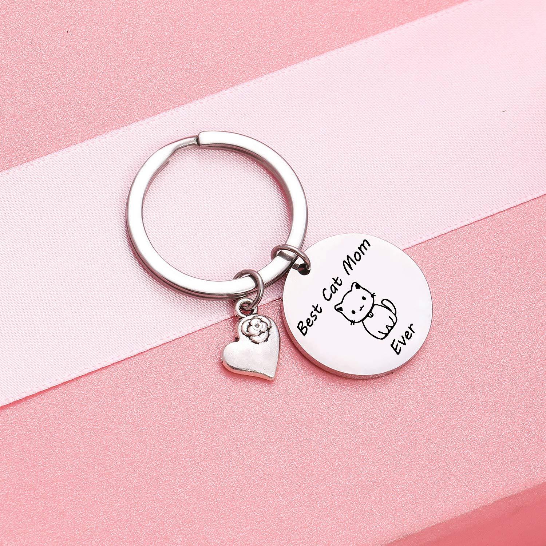 TzrNhm Blossom Best Cat Mom Ever Bangle Bracelet for Cat Lover,Mom,Sister,Friends Cat Keychain