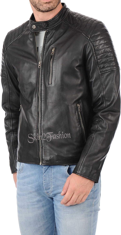 Mens Leather Jackets Motorcycle Bomber Biker Genuine Lambskin 333