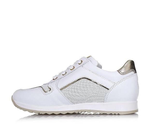 Nero Giardini Chaussure Blanche à Lacets en Cuir avec Oeillets Dorés, Insert à l'Arrière avec des Pois Blancs, Fille, Filles-32