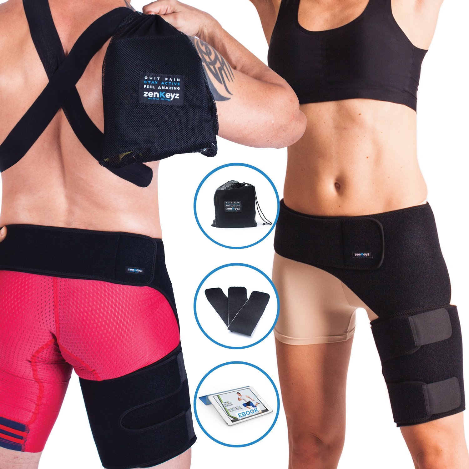 9206670dd9 Amazon.com: Groin Support and Hip Brace for Men & Women- Compression Wrap  for Thigh Quad Hamstring Joints Sciatica Nerve Pain Relief Zenkeyz Leg  Strap: ...