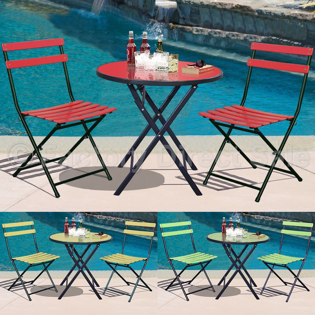 UBRTools 3Pcs Outdoor Bistro Round Table Chair Furniture Set Garden Lawn Coffee Table