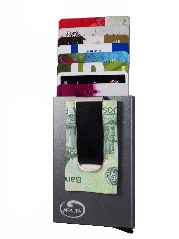 1a83a05d6 ARALTA Tarjetero Aluminio con diseño de billetera cartera frontal con clip  para billetes y bloqueo RFID delgado Minimalista. Para tarjetas de credito  o ...