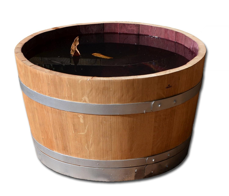 Holzfass als Pflanzkübel, Weinfass halbiert geschliffen und lackiert mit silbernen Ringen (D70 cm) (ohne Zubehör mit Ablaufbohrungen)