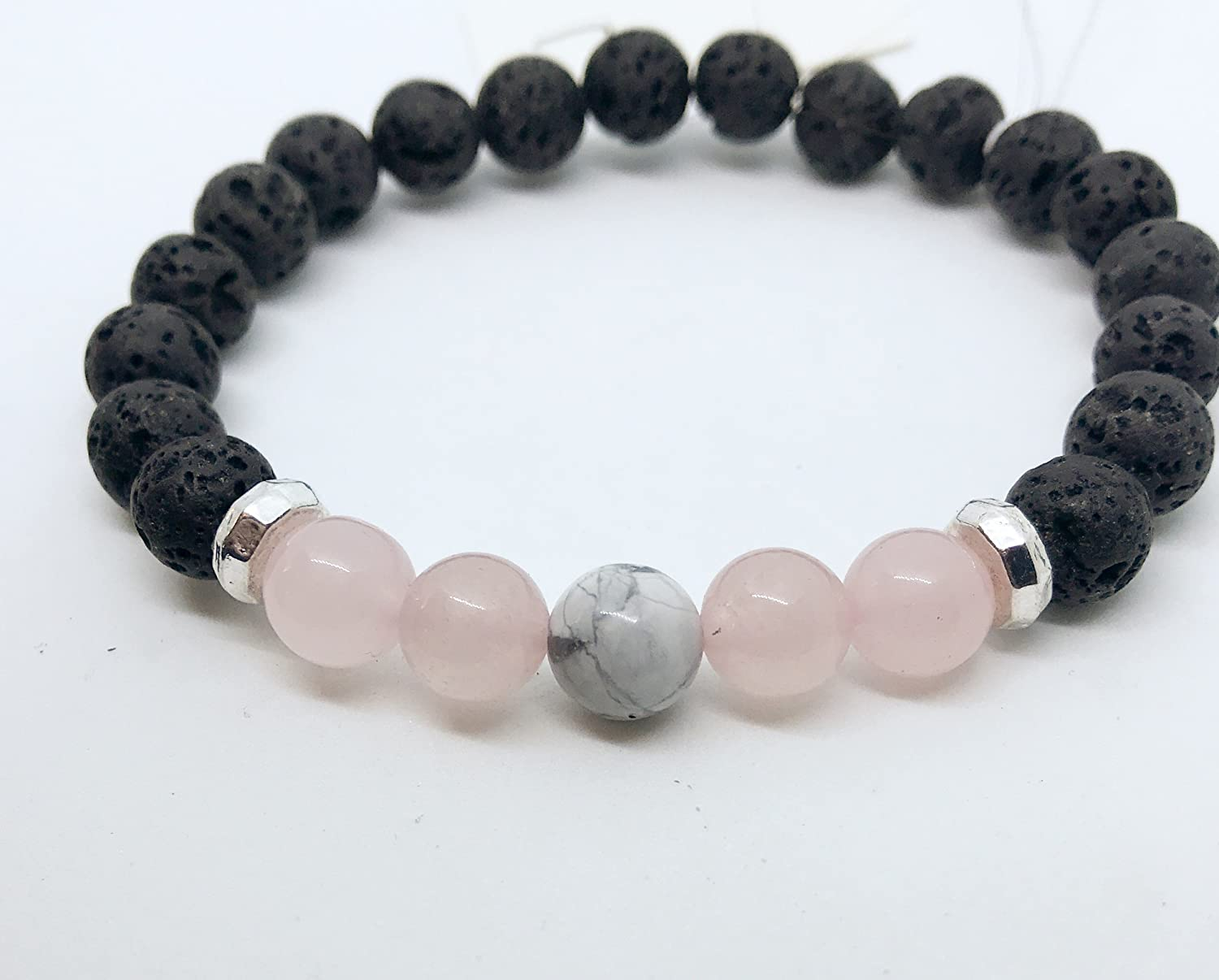 Aromatherapy Diffuser Bracelet with Rose Quartz and White Howlite Gift