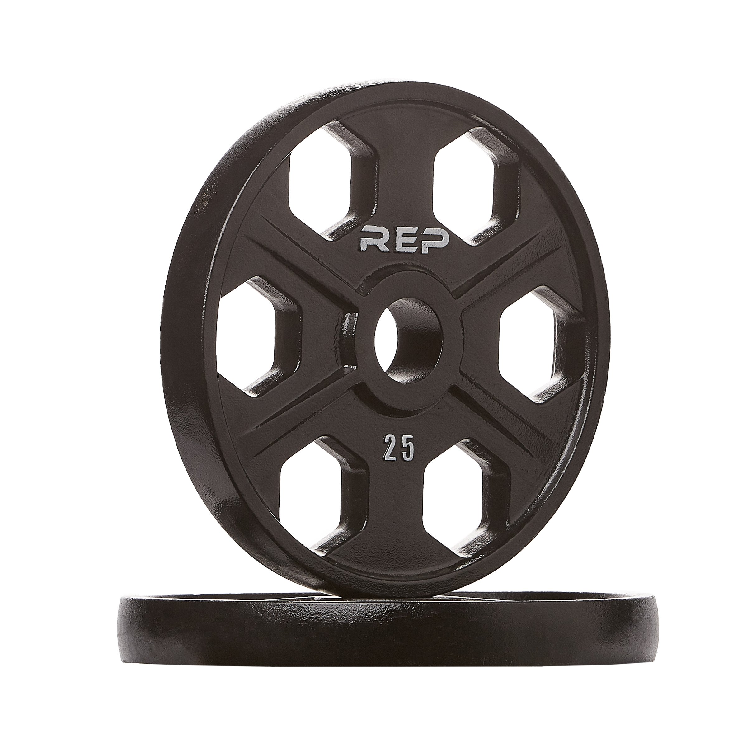 Rep Fitness Rep Black Equalizer Iron Olympic Plates, 25 lb Pair
