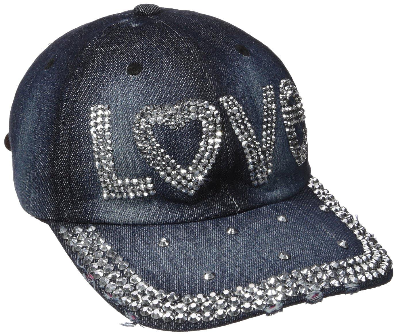 NYC Underground Women s Distressed Denim Baseball Hats with Rhinestones 44365e8ea30