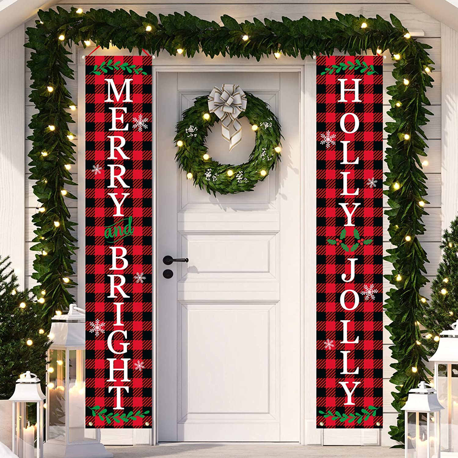 Dazonge Christmas Decorations Outdoor Indoor | Merry and Bright & Holly Jolly Christmas Porch Banners | Buffalo Plaid Xmas Door Banners | Rustic Christmas Decor for Home