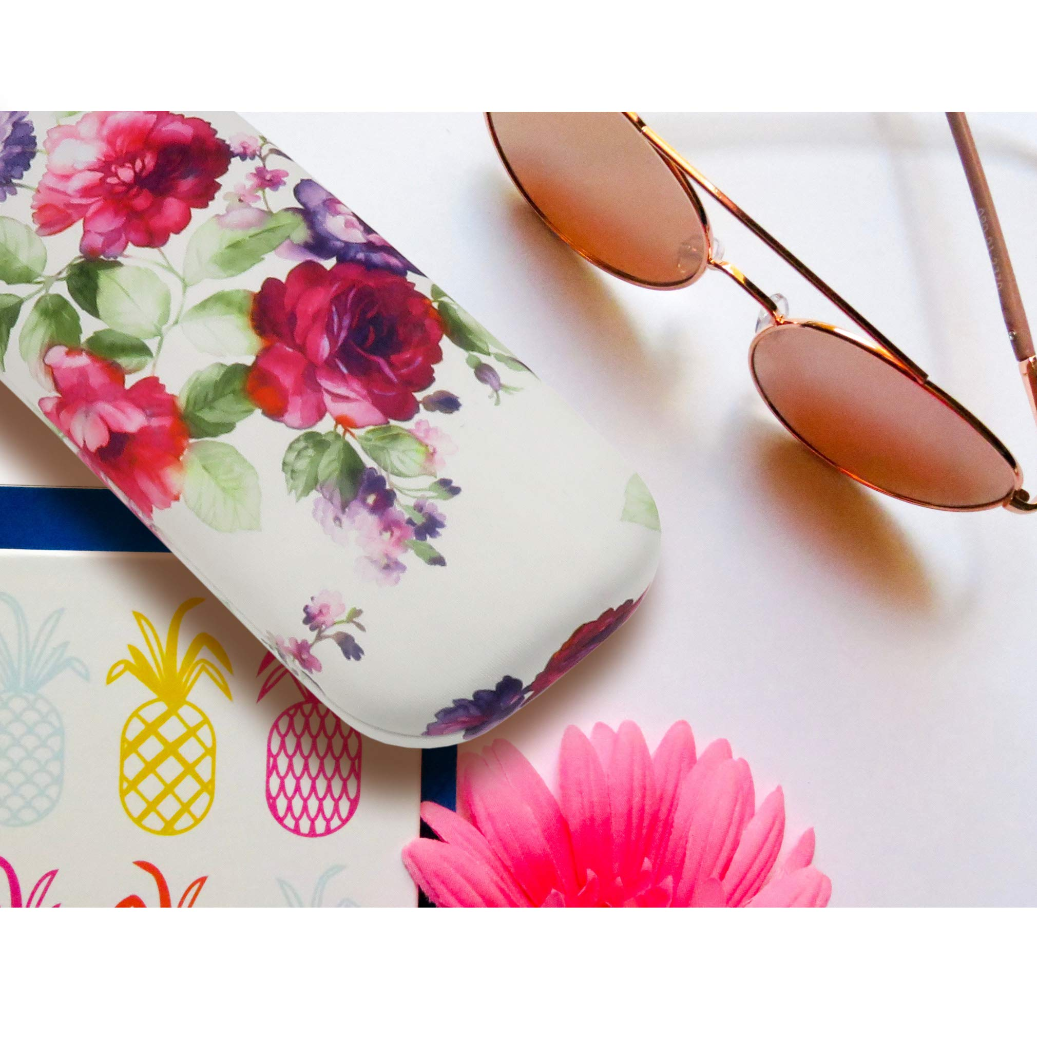 Floral Hard Shell Eyeglass Case for women Medium Sunglasses case with Cleaning Cloth by Rachel Rowberry (AS126 Cranberry Rose) by MyEyeglassCase (Image #3)