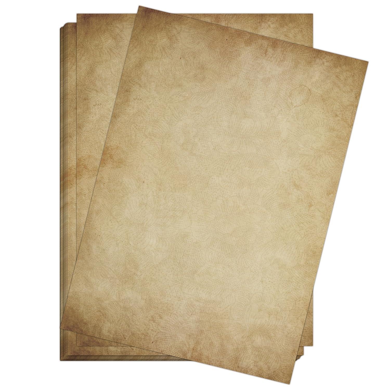50 Blatt Im Set: Briefpapier Altes Papier Vintage   DIN A4   Beidseitig