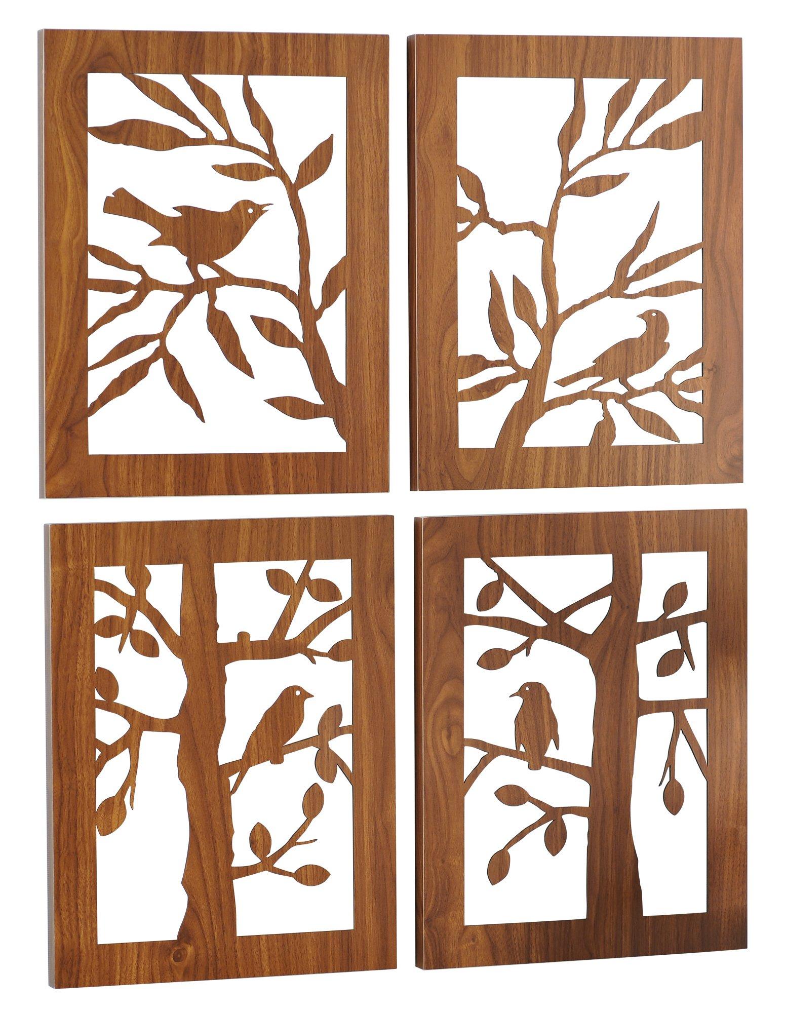 Grasslands Road Laser Cut Wood Plaques Assortment, 16-Inch, Set of 4