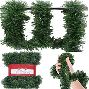 CYKJ 50 Foot Soft Green Garland for Christmas Decorations - Non-Lit Soft Green Holiday Decor for Outdoor or Indoor Use - Premium Quality Home Garden Artificial Greenery or Wedding Party Decorations.