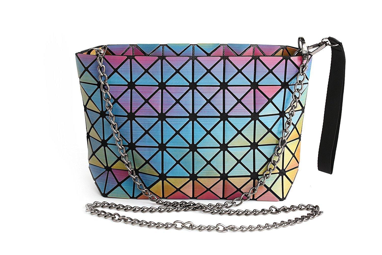 Procida Women Handbags Purse Shoulder Crossbody TPU Bag with Shiny Multi-colors Design for Girls and Ladies