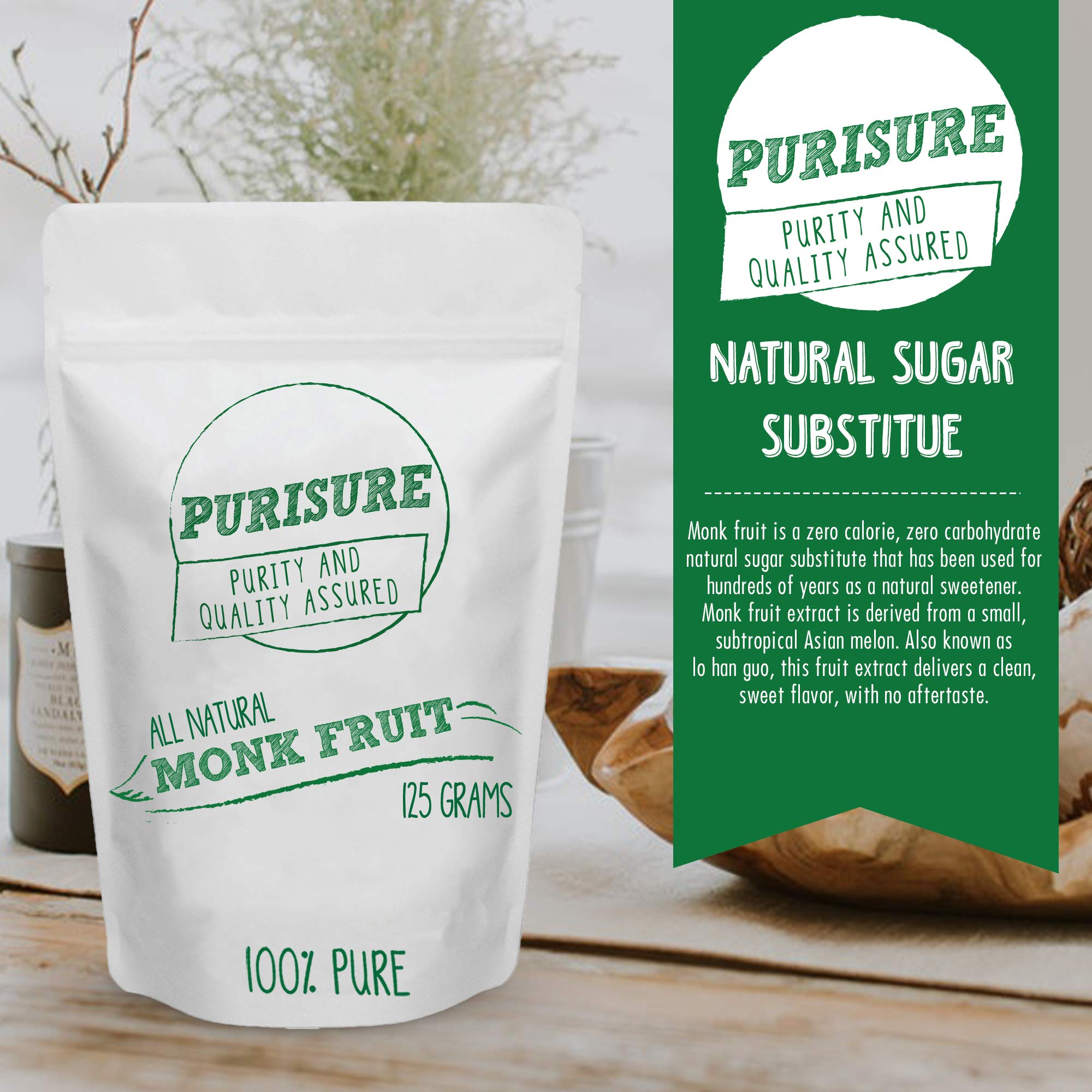 Purisure Monk Fruit Extract 125g (400 Servings) | Sugar-Free Natural Sweetener | Zero-Calorie Zero-Carb Sugar Substitute | No Artificial Sweeteners | Perfect for Low-Sugar, Low-Carb, Keto, Paleo Diets by Purisure (Image #3)