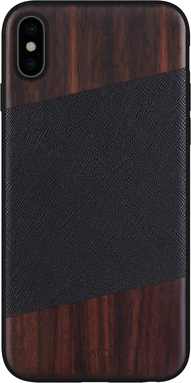 iATO iPhone X Case Wood & Leather. Unique & Classy Black Saffiano Genuine Leather & Real Natural Bois de Rose Wood iPhone X Case {Shockproof & Raised Lips} iPhone X Real Wood & Genuine Leather Case