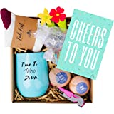 BECTA DESIGN Wine Gift Basket - 8 Cute Gifts in Each Beautifully Prepared Box - The Perfect Wine Gifts for Women - Includes a