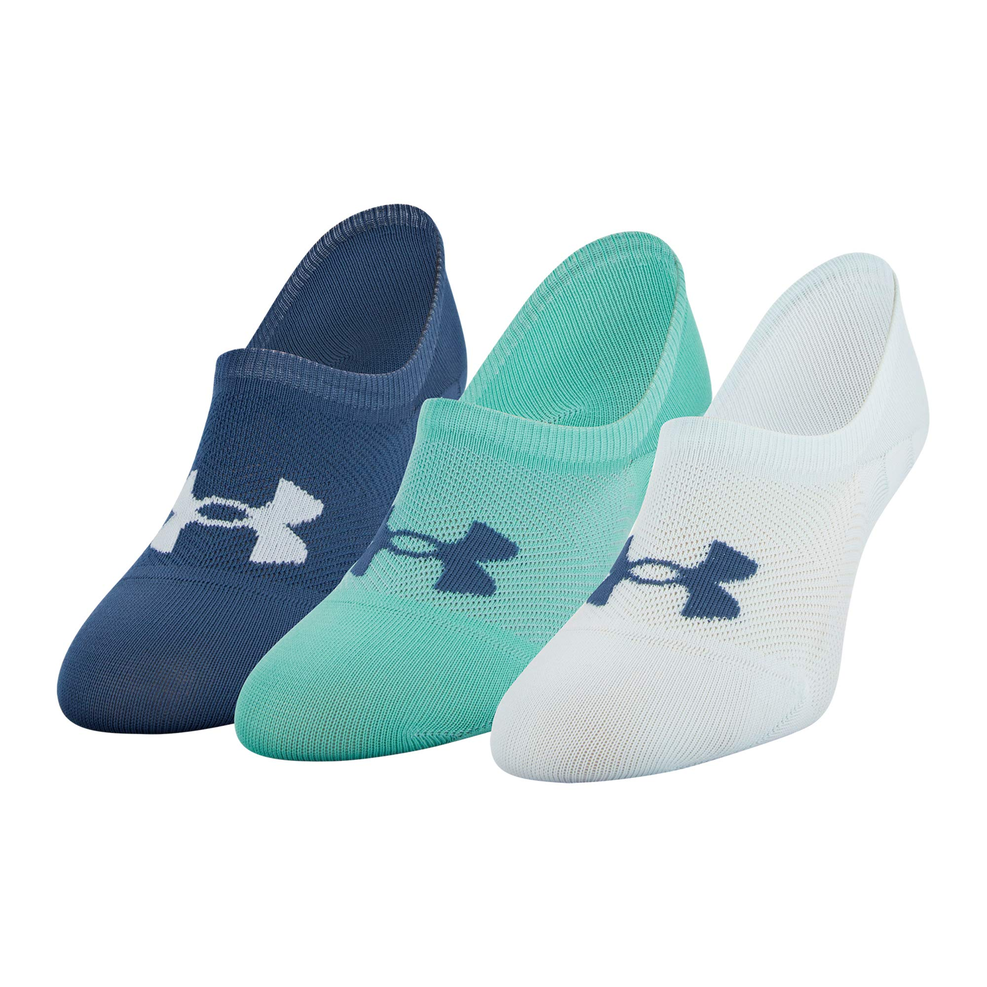 Under Armour Women's Essential Ultra Low Socks, 3-Pair, Fuse Teal Assorted, Shoe Size: 6-9 by Under Armour