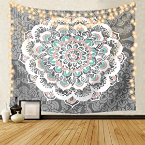 Blue Lotus Floral Mandala Tapestry Wall Hanging, Psychedelic Flower Bohemian Hippie Tapestries Wall Decor, 60x80, Large Grey
