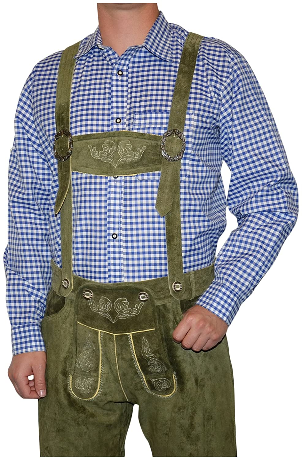 German Blue Lederhosen Button Down Longsleeve / Shortsleeve Shirt BS02