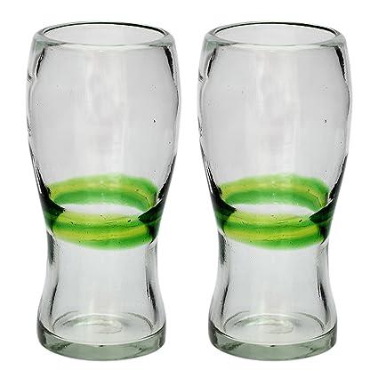 Vaso Cervecero (Pinta) Artesanal – Vidrio Reciclado – Verde Mezclado – Juego de 2