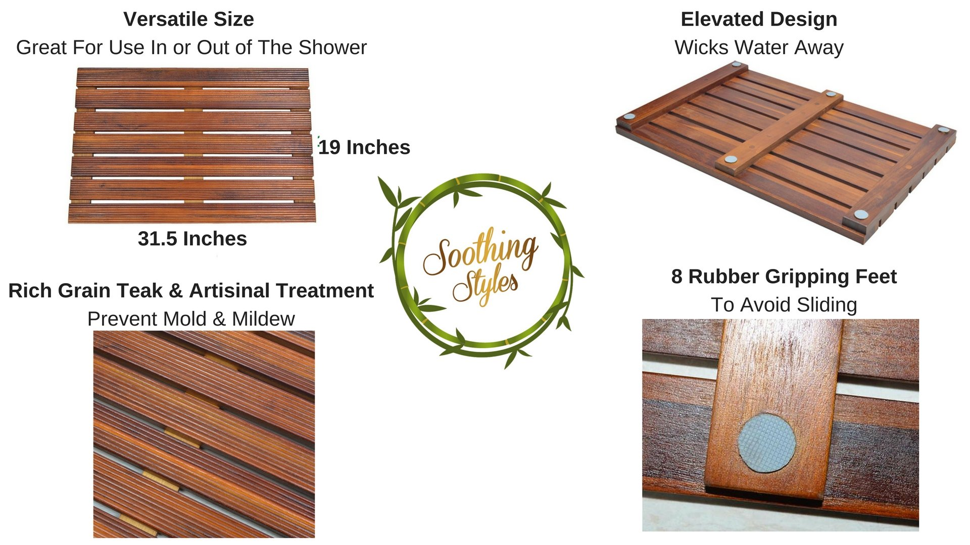 """Soothing Styles Luxury Teak Bath Mat Large Size with Non Slip Feet & Natural Mildew Resistance for a Hotel Bathmat Inside The Shower or on The Bathroom Floor! [31.5"""" x 19""""]"""